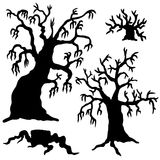 Spooky trees silhouette collection. Vector illustration Royalty Free Stock Photo