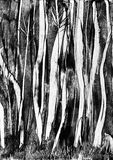 Spooky trees wax painting Royalty Free Stock Photography