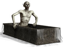 Spooky vampire in a coffin. 3D render of a spooky vampire in a coffin Stock Photo