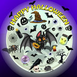 Spooky vector set of objects for Halloween. A spooky set of objects for Halloween Stock Photo