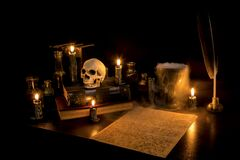 Free Spooky Wizard`s Desk Stock Images - 185093514