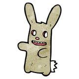 Spooky zombie bunny cartoon. Retro cartoon with texture. Isolated on White Royalty Free Stock Photo