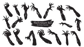 Spooky zombie hands silhouette collection of Halloween vector is vector illustration