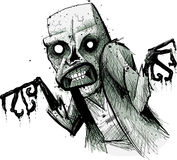 Spooky Zombie. A hungry, spooky, cartoon zombie lurking and decaying stock illustration