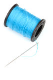Spool of blue thread Royalty Free Stock Images