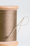 Spool of brown threas with a needle Stock Images