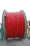 Spool of cable and fiber optics Royalty Free Stock Photos