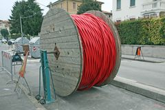 Spool of cable and fiber optics royalty free stock photo