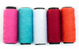 Spool of coloured  thread. Stock Photo