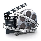 Spool and film. Film and clipboard symbol (done in 3d Royalty Free Stock Photos