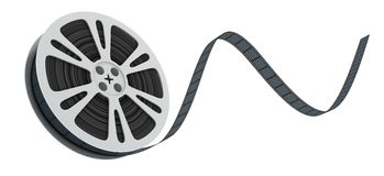 Spool film fly. Spool film on white background (done in 3d Royalty Free Stock Photography
