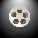 Spool of film. Video and entertainment, camera and filmstrip, cinematography industry, vector graphic illustration Stock Image