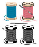 Spool icons with sewing needle and thread. vector  Stock Image