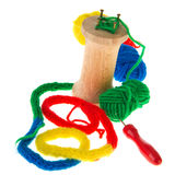 Spool knitting. With colorful wool Stock Photos