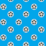 Spool reel filmstrip seamless pattern. Movie reel, cinema and slot reels, reel to reel tape. Vector illustration Stock Image