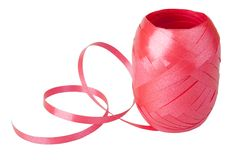 A spool of ribbon. Isolated on white stock photos