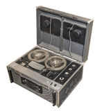 Spool stereo tape recorder, 1967. Weight 19 kg. Is isolated on white royalty free stock photos
