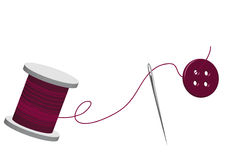Spool of thread. With threaded needle and buttons vector illustration