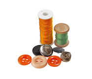 Spool of thread and buttons Stock Photo