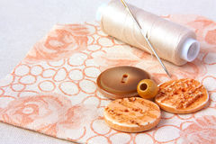 Spool of thread and buttons on a cloth Stock Images
