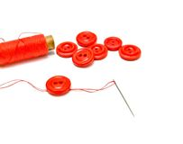 Spool of thread and buttons Stock Photos