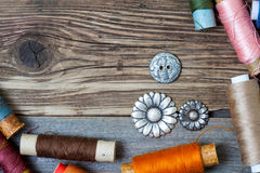 Spool of thread and buttons Royalty Free Stock Photography