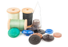 Spool of thread with buttons Stock Photos