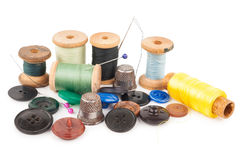 Spool of thread with buttons Stock Image