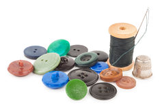 Spool of thread with buttons Royalty Free Stock Images