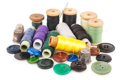 Spool of thread with buttons Royalty Free Stock Photography