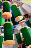 Spool of thread for kite flying in India. Spool of thread for kite flying decorated in the colors of the Indian flag. 15th Aug every year is celebrated as the Royalty Free Stock Image
