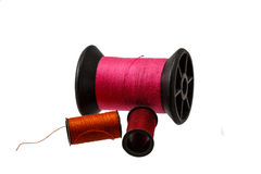 Spool thread and needle isolated on white background . Royalty Free Stock Image
