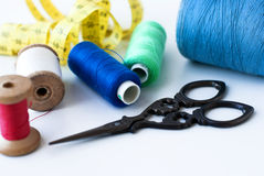 Spool of thread . Sew accessories. Stock Photo