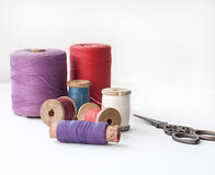 Spool of thread . Sew accessories. Stock Photos