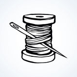Spool of thread. Vector drawing. Wooden reel of fiber filament on white backdrop. Freehand outline black ink hand drawn logo sketchy in art retro scribble Royalty Free Stock Image