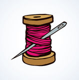 Spool of thread. Vector drawing. Wooden sheave of vibrant crimson cotton fiber filament and big pin on white backdrop. Bright color hand drawn logo sketchy in Royalty Free Stock Photography