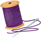 Spool with threads and needle stock illustration