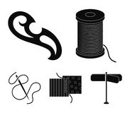 A spool with threads, a needle, a curl, a seam on the fabric.Sewing or tailoring tools set collection icons in black. Style vector symbol stock illustration Royalty Free Stock Photos