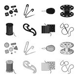 A spool with threads, a needle, a curl, a seam on the fabric.Sewing or tailoring tools set collection icons in black. Monochrome style vector symbol stock Stock Image