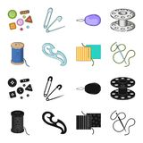 A spool with threads, a needle, a curl, a seam on the fabric.Sewing or tailoring tools set collection icons in black. Cartoon style vector symbol stock Royalty Free Stock Image