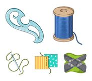 A spool with threads, a needle, a curl, a seam on the fabric.Sewing or tailoring tools set collection icons in cartoon. Style vector symbol stock illustration Royalty Free Stock Images
