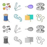 A spool with threads, a needle, a curl, a seam on the fabric.Sewing or tailoring tools set collection icons in cartoon. Monochrome style vector symbol stock Stock Photo