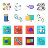 A spool with threads, a needle, a curl, a seam on the fabric.Sewing or tailoring tools set collection icons in cartoon. Flat style vector symbol stock Stock Photos