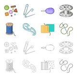 A spool with threads, a needle, a curl, a seam on the fabric.Sewing or tailoring tools set collection icons in cartoon. Outline style vector symbol stock Stock Photo