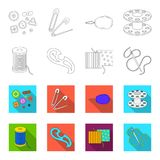A spool with threads, a needle, a curl, a seam on the fabric.Sewing or tailoring tools set collection icons in outline. Flet style vector symbol stock Stock Photo