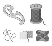 A spool with threads, a needle, a curl, a seam on the fabric.Sewing or tailoring tools set collection icons in. Monochrome style vector symbol stock Royalty Free Stock Photo