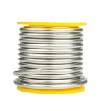 Spool of tin solder. Isolated on white background royalty free stock image
