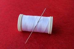 Spool white thread stock photos
