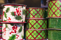 Spools of Christmas Ribbon Closeup Stock Photography