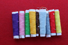 Spools of different color thread Stock Photos